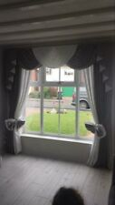 DESIGNER CURTAINS SWAGS AND TAILS SILVER & WHITE  FULLY LINED