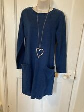 Lagenlook Thought Clothing Blue Dress BNWT 100% Organic Cotton Size 8 RRP £70