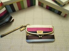COACH Legacy Signature NWOT stripe foldover clutch purse hand bag kisslock