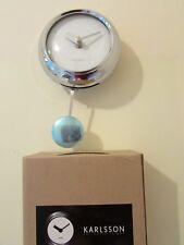 KARLSSON PENDULUM WALL CLOCK, STEEL / CHROME, WHITE, NEW.