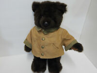 LL Bean Plush Teddy Bear Dark Brown Field Coat 17 Inches Poseable