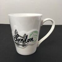 London Coffee Tea Mug Cup 3D Raised Graphic London Bridge Passport Stamp