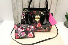 Betsey Johnson Satchel Black Floral Bow Crossbody Shoulder Bag Makeup pouch NWT