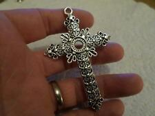 LOVELY LARGE CHRISTIAN SILVER PLATED RELIGIOUS CROSS CRUCIFIX PENDANT (ref006)