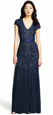Adrianna Papell New Womens Midnight blue Embellished Cap Sleeve Gown   2