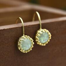 Vintage Fire Opal &Aquamarine Crystal Drop Hook Pierced Earrings 14K Gold Filled