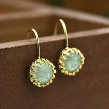 88f7f1ae154911 Vintage Fire Opal &aquamarine Crystal Drop Hook Pierced Earrings 14k Gold  Filled