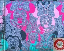 Jersey - Lizenzstoff Minnie Mouse - Disney - grau / pink / rosa / mint / türkis