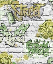 GRAFFITI  WALLPAPER TEENAGE KIDS GREEN BRICK WALL QUALITY WALLPAPER UGEPA L17904