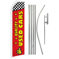 Quality Used Cars Advertising Swooper Flutter Feather Flag Kit Dealership Red