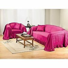 "Damask Karen Chair Throw Slipcover 70"" x 90"" + Pillow Burgundy"