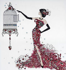 Cross Stitch Kit ~ Design Works Birdcage Fashion Woman in Elegant Dress #DW2754