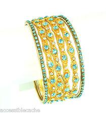 Chamak Set of 6 Gold-tone Metal Bangle Bracelets Sparkle Blue & White Crystals