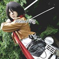 Black Short Straight Hair Mikasa Ackerman Cosplay Anime Full Wig + Wig Cap
