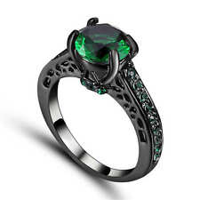 Vintage Round Cut Green Emerald CZ Wedding Ring 18K Black Gold Filled Size 6