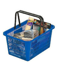 Shopping Baskets Set of 12 Blue Durable Break Resistant Plastic w/ Metal Stand