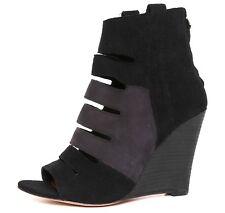 Rebecca Minkoff Pebbled Leather Peep Toe Wedge Bootie Black Women Sz 6.5M 1155