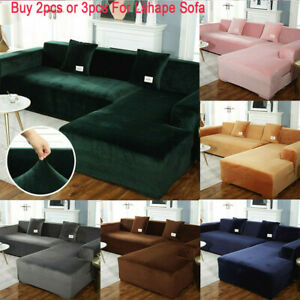 Stretch Velvet Plush L Shape Sofa Cover Corner Sectional Couch Slipcover Luxury