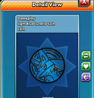 ::Rare Item:: Light Blue Lucario Coin Pokemon TCG Online (Digital Coin) PTCGO