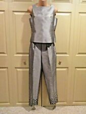 ANN TAYLOR WOMENS 2 PC SIZE 2/4 SILVER GRAY BRUSHED SILK WITH EMBELLISHMENT