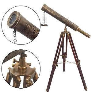Antique Brown Leather Floor Standing Telescope Nautical Maritime Adjustable Spy