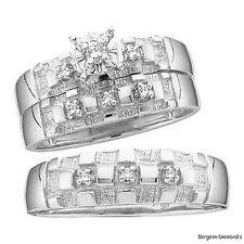 Diamond 3-ring 10K gold wedding band set engagement bride groom .10-carat bridal