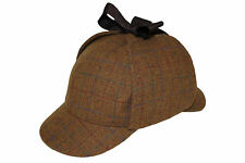 100% Lana País Tweed cheque Sherlock Holmes DeerStalker caza gota Orejas Sombrero