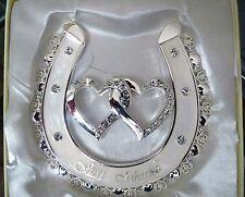 Wedding Keepsake  Silver Heart Horseshoe with Diamante
