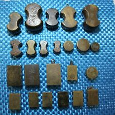 Set of Brass and Copper Tael Weights (23 Pieces) - China and Japan