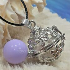 Angel Caller  Harmony Chime Ball & Aromatherapy Diffuser Necklace Lava Purple