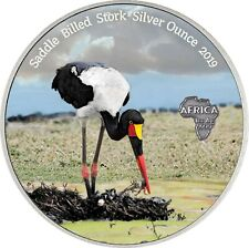 Kongo 1000 Francs 2019 Sattelstorch Silver Ounce Antique Finish in Farbe