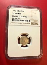 1902 Malaysia Straits Settlements 5 Cents, NGC VF DETAILS HARSHLY CLEANED