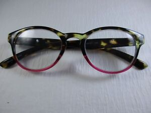 FRANKIE Gradient Tortoise to Grenadine Red Spring Temple Reading Glasses +2.00