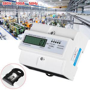 LCD-Drehstromzähler Geeicht Für DIN Hutschiene + 3-Phasen-4-Draht Stromzähler DE