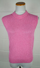 Vintage 70s Montgomery Ward Knit Nylon Bright Pink Sleeveless Sweater Top Large