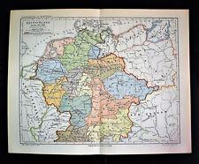 1902 Original Mappa Geografica: GERMANIA - DEUTSCHLAND all'anno 1000.Meyers.etna