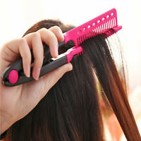 Portable DIY Salon Flat Iron Hair Straightener V Comb Hairdressing Styling Tool