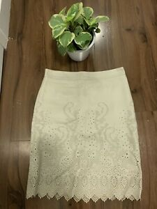 Tory Burch Beige leather Cut-Out Skirt Sz 2