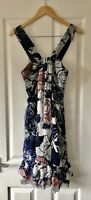 DVF DIANE VON FURSTENBERG BLUE FLORAL 100% SILK DRESS UK 10