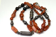 """Antique Middle Eastern 900 Silver With Carnelian Beads Necklace 32"""" Long"""