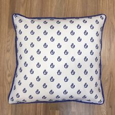 Handmade Blue Anchor on White 100% Cotton Cushion Cover. Various sizes