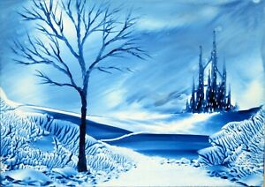 ORIGINAL ACEO encaustic art FANTASY landscape BEESWAX painting BLUE tree CASTLE