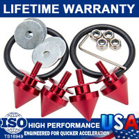 Red Spike Universal Aluminum Quick Release Fasteners Kit Fit For Car Bumper&Trun