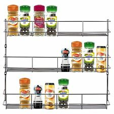 Stainless Steel 3 Tier Spice Herb Jar Bottle Rack Kitchen Cupboard Door Storage