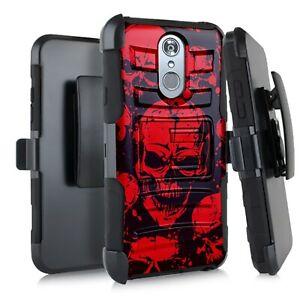 Holster Case For LG Stylo 5 / Stylo 5 Plus Hybrid Phone Cover - RED SKULL PILE