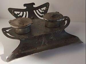 Antique Stamped Steel Art Nouveau Desk Stand Inkwell Jugendstil