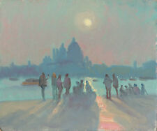 """NEW ORIGINAL MICHAEL RICHARDSON OIL """"On the Zattere""""  Venice Italy PAINTING"""