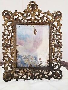 "Large Antique 17"" H Ornate Genuine Victorian BrassTable Picture, Mirror Frame"