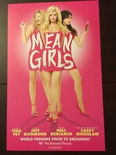 MEAN GIRLS Window Card Poster TINA FEY pre-Broadway Musical Washington DC