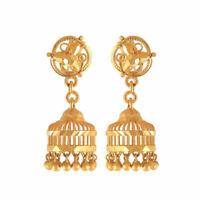 Vintage Fait main Jhumki Clous boucles d'oreilles En 750 Estampé 18K Or jaune